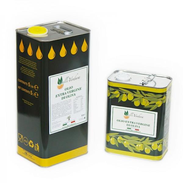 Olio extra vergine di oliva in lattine da 2, 5 e 10 lirtri