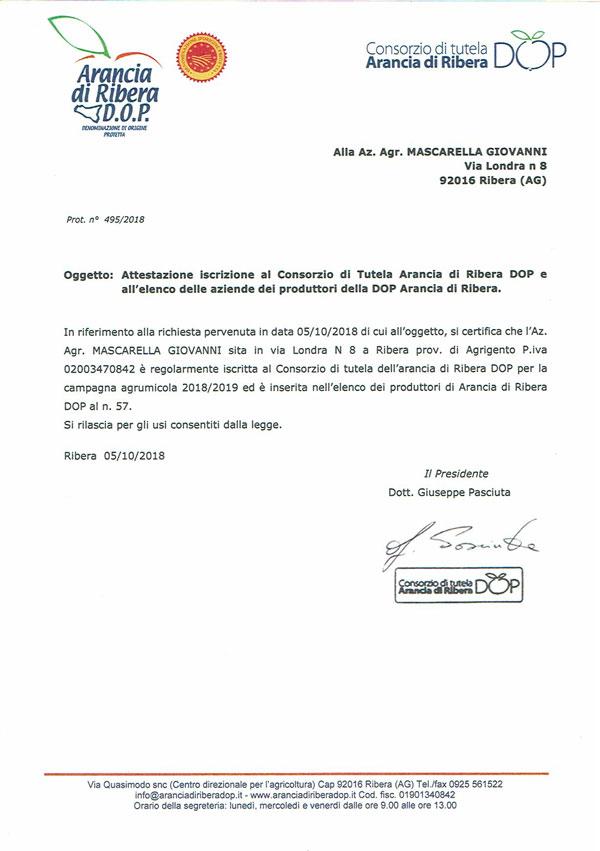Certificato Arancia di Ribera DOP